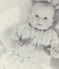 Vintage Knitting PATTERN to make Baby Infant Cardigan Sweater Sweet Knitted Lace