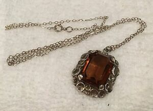 VINTAGE STERLING SILVER & AMBER GLASS STONE PENDANT-46cm (18inch) S/SILVER CHAIN