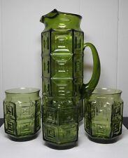 Vintage green glass hexagon juice pitcher 3 glasses MCM mod square window pane