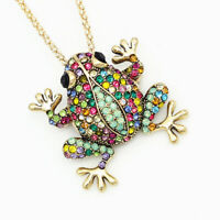 Women's Multi-Color Crystal Frog Charm Pendant Betsey Johnson Necklace/Brooch