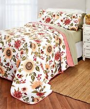 3-Pc. Sunflower Flower Quilt & Pillow Sham Set Yellow Coral White - Full Queen