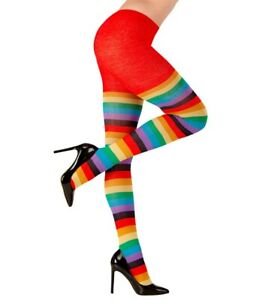 Adult Rainbow Carnival Party Costume Tights Pantyhose 75 Denier UK 10-12 16-18