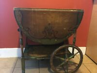 Antique Painted Tea Cart With Glass Tray