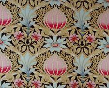 ART NOUVEAU Floral Pink Blue 100% Cotton Quilting Fabric BY THE YARD Free Ship