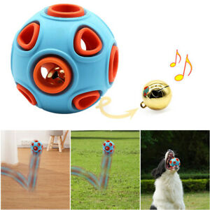 Rubber Dog Toy Chewing Ball Resistant Dog Training Bouncy Ball With Bell Sound