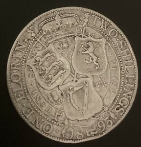 1893 Great Britain UK Florin - SILVER Coin