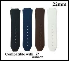 22mm Fits Hublot Big Bang Watch Strap Rubber Black-White-Blue-Brown Band