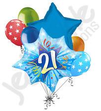7 pc Happy 21st Birthday Blue Star Burst Balloon Bouquet Party Decoration Adult