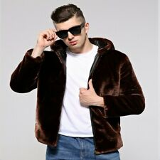Winter Men's Faux Fur Coat Hooded Zipper Jacket Loose Thick Occident Outwear New