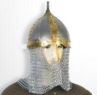 Functional Medieval Russian Helmet 16 Gauge Steel with Chainmail Camail SCA