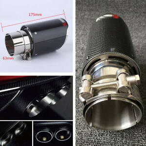 Real Carbon Fiber Auto SUV Exhaust Pipe Muffler End Tips For Car 63mm-89mm Gloss