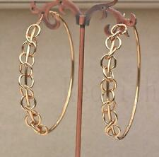 """18K Gold Filled 2.8"""" Earring Small Loops Cross Hollow Round Hoop Dangle Lady DS"""