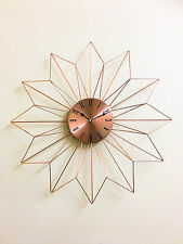 48cm Metallic Dial Copper Finish Clock  Metal Spikes Design Sunburst Wall Clock