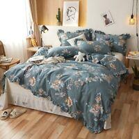 Vintage Floral 4Pcs Duvet Cover Set Cotton Bedding Set Comfortable Bed Sheet