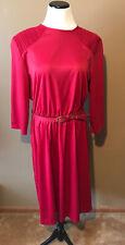 Vintage Blair Dress Midi Red Fit & Flare Elastic Waist Belt Size 18W