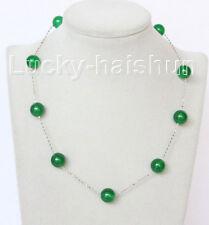 """Genuine 12mm 925 silver Chain round green jade necklace 17"""" j10834"""
