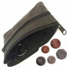 New Ladies Men Soft Leather Small Coin Card Key Ring Wallet Pouch Purse Black