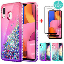 For Samsung Galaxy A20S Hybrid Quicksand Glitter Case TPU Cover/Screen Protector