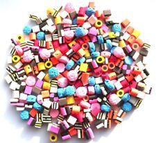 100 mixed fimo polymer clay bertie basset liquorice allsort beads *small size*