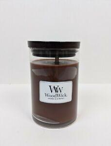 Woodwick Toasted Sandalwood Medium Jar Candle Brand New 10 oz Crackle Wick