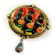 NEW SWEET ROMANCE VICTORIAN STYLE TRICK–OR-TREAT CATS HALLOWEEN PIN  ~USA MADE~
