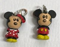 Disney Mickey & Minnie Mouse Charms Spring Ring Clasp Rare Full Body Vintage
