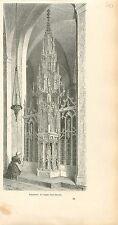 Tabernacle Église Saint-Martin de Courtrai Kortrijk GRAVURE ANTIQUE PRINT 1880