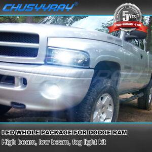 For 99-01 Dodge Ram 1500 2500 3500 6000K 9007 LED Headlight+Fog Light Bulbs 881