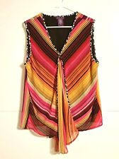 Beverly Drive Women's Sleeveless Top Blouse Stripes Size 1X Multi-Color
