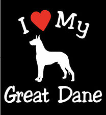 Pair of I Love My Dog GREAT DANE Pet Car Decals Stickers Ready to Apply