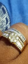Wedding Band Anniversary Ring Baguette 10k Solid Yellow Gold Natural Diamond