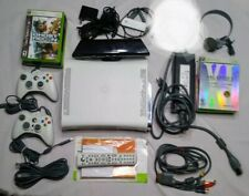Xbox 360 Console White 2 Controllers Kinect Motion Sensor 9 Games Z5