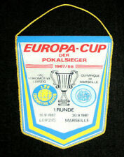 Pennant fanion Wimpel OM Marseille 1.FC Lokomotive Leipzig cup winners cup 1987