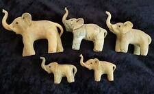 5 HANDMADE ELEPHANTS - ELEPHANT FAMILY - ALL TRUNKS UP - ALL PERFECT Cond
