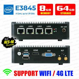 Intel Atom® E3845 4 LAN 3G/4G 8G RAM/64G SSD Fanless pfSense Firewall AES-NI