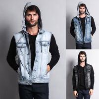 Victorious Men's Distressed Detachable Hoodie Denim Vest    S ~ 5XL    DK108