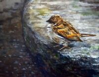 Sparrow On The Garden Stone Original Impressionist Oil Painting Bird Wall Art