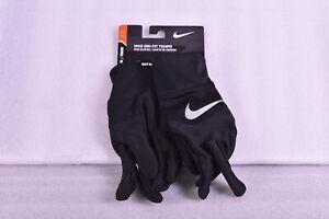 Women's Nike Dri - Fit Tempo Run Gloves, Black w/ Silver Logo, Small