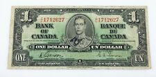 1937 Bank of Canada One Dollar Bank Note (F) Fine Condition Pick# 58b