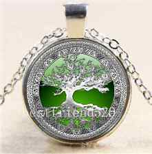 Celtic Silver/Green Tree Of Life  Glass Cabochon Tibet Silver Chain Necklace