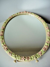 Distressed Vintage French Dressing Table Mirror Floral Wooden Frame Shabby Chic