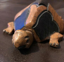 "Wooden Tortoise Ornament 6"" Turtle Figure Vintage Wood Carving Sculpture"