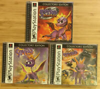 Playstation 1 PS1 Black Label Spyro Collectors' Edition Lot of 3 Games - TESTED!