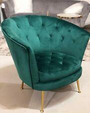 Green Velvet Armchair with Gold Legs Occasional Chair Velvet Velvet Tub Chair