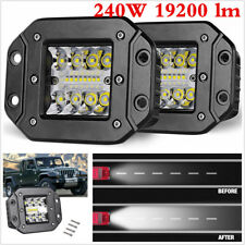 A Pair 240W Spot Flood LED Work Light For Car Truck Off-Road Flush Mount Lights