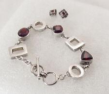 Vintage Sterling Silver 29.2g Ruby red Garnet Toggle Bracelet & Earrings set