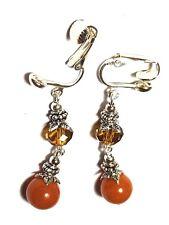 Long Silver Orange Agate Clip-On Earrings Crystal Glass & Gemstone Drop Dangle