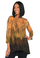Linea Louis Dell'Olio Ombre 3/4 Sleeve Hi-Low Tunic Top Sweater Guava XL