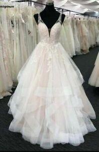 New Ruffled Skirt Lace A-Line Wedding Bridal Gown Debutante Ball Dress Custom