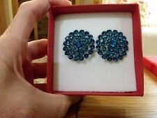 Brand new huge clip-on earrings with blue diamanté crystals +  box